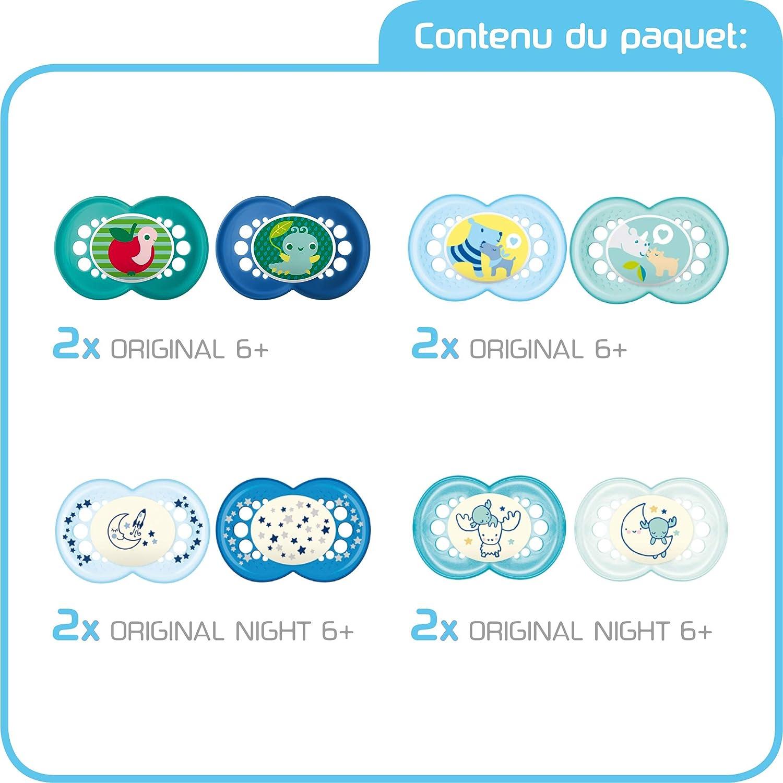 ensemble sucettes d/ès 6 mois MAM Day /& Night Soothing Set 2 pour le jour /& pour la nuit cadeau pour b/éb/é avec 2x4 sucettes Original silicone 6+ et 18+ mois gar/çon