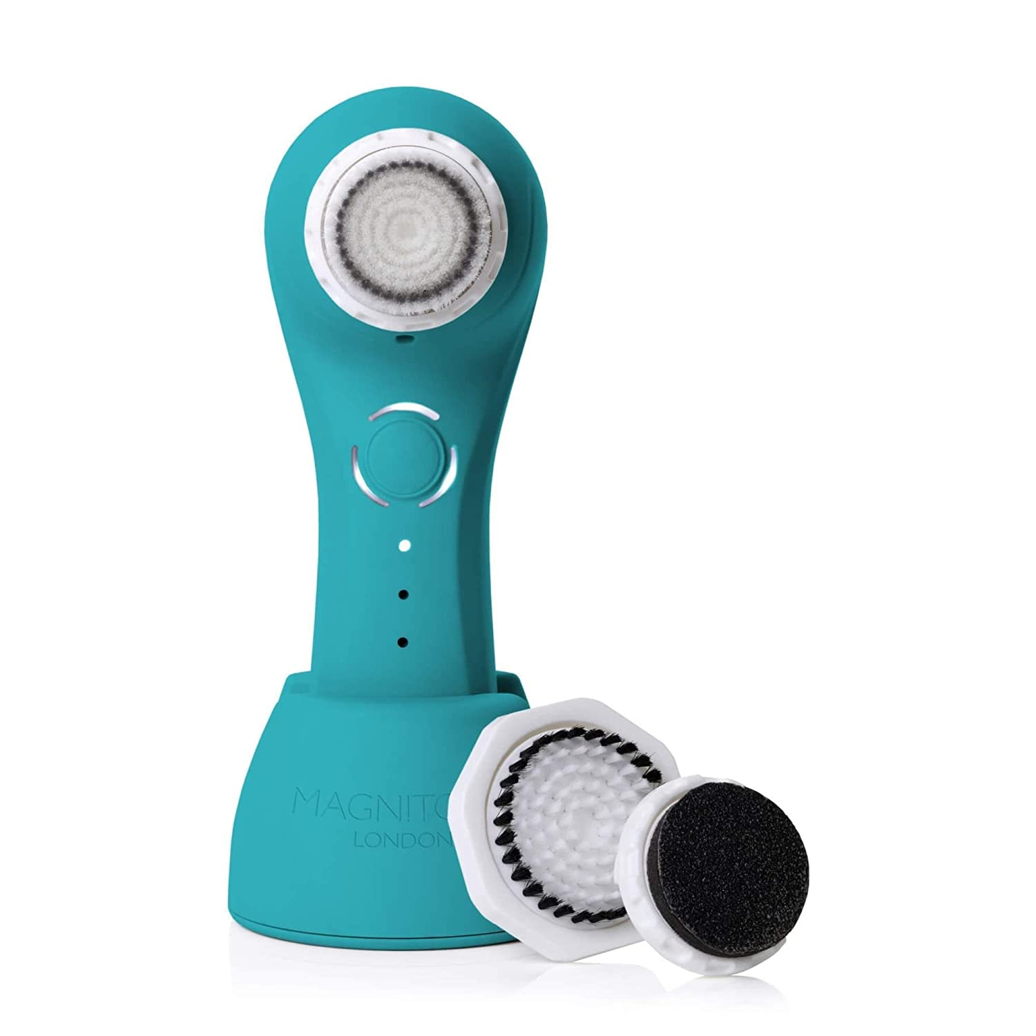 Magnitone London Full Monty Vibra-Sonic 3-in-1 Face and Body Cleansing Brush with 3 Interchangeable Brush Heads, Electric Blue MP03EB