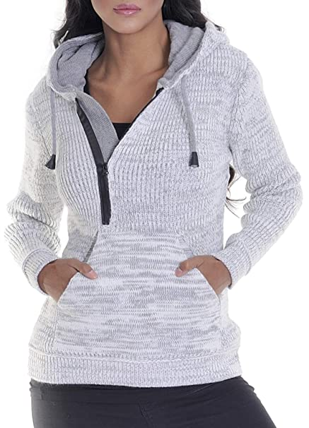 Leif Nelson Damen Strick Pullover Frauen Basic Hoodie mit Kapuze Damen Pulli Langarm Sweatshirt Das Beste in Kleidung Frauen LN10235