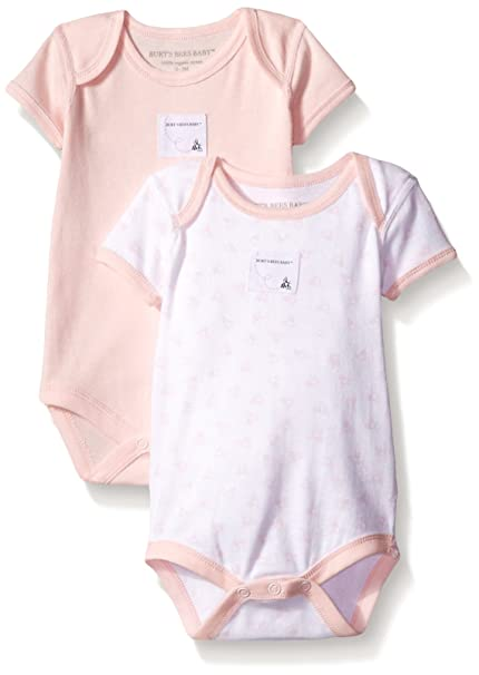8e0e548a9 Image Unavailable. Image not available for. Color: Burt's Bees Baby Baby  Girls' 2 Pack Essentials Bodysuits ...