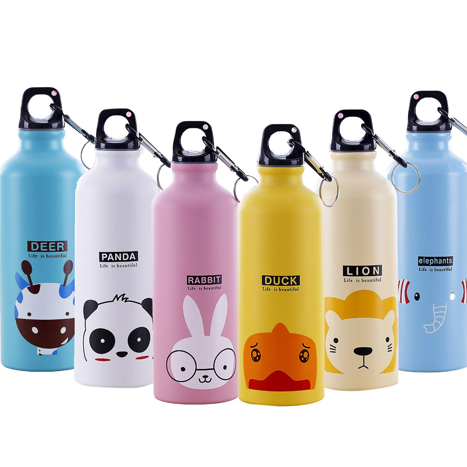 Large 500ml Leakproof Fitness Sports Water Bottle Aluminum Alloy Portable with Carabiner Clip