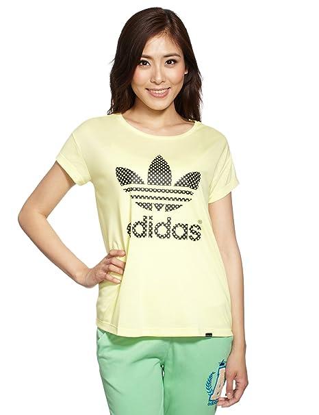 Camiseta adidas Originals PB Logo para mujer (amarillo) 14: Amazon.es: Ropa y accesorios