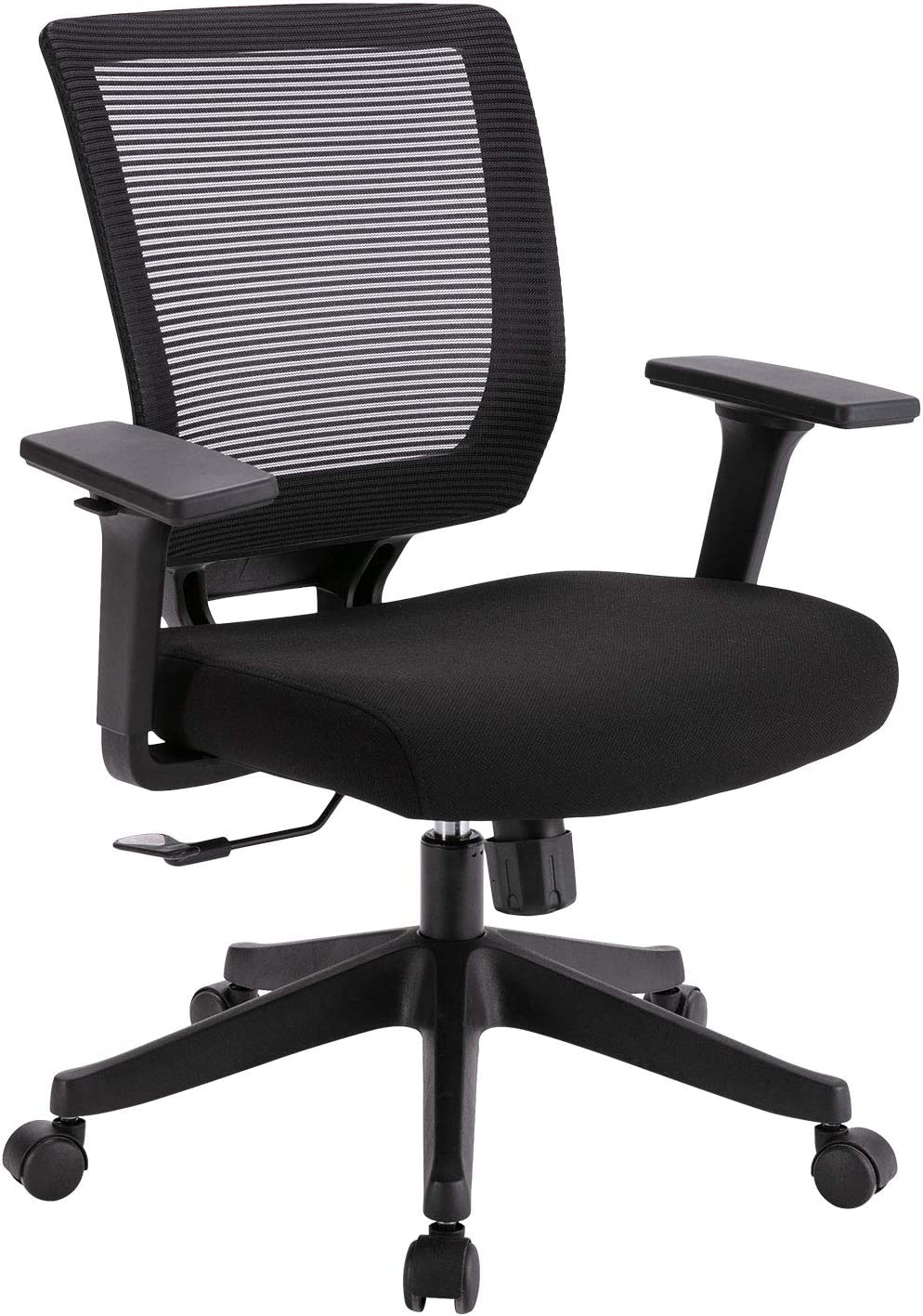 Rimiking Mesh Office Chair Ergonomic Computer Chair Adjustable Height and Armrest Mid-Back with Comfort Breathable Lumbar Support Executive Swivel Chair Black