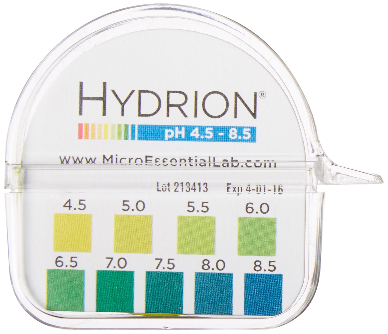 Micro Essential Lab 2210 Plastic Hydrion Vivid Short Range pH Test Paper Dispenser, 4.5-8.5 pH, Single Roll
