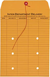 Quality Park 1-Side Print Inter-Department Envelopes, String-Tie, Brown Kraft, 9 x 12, 100 per Carton, (63462)
