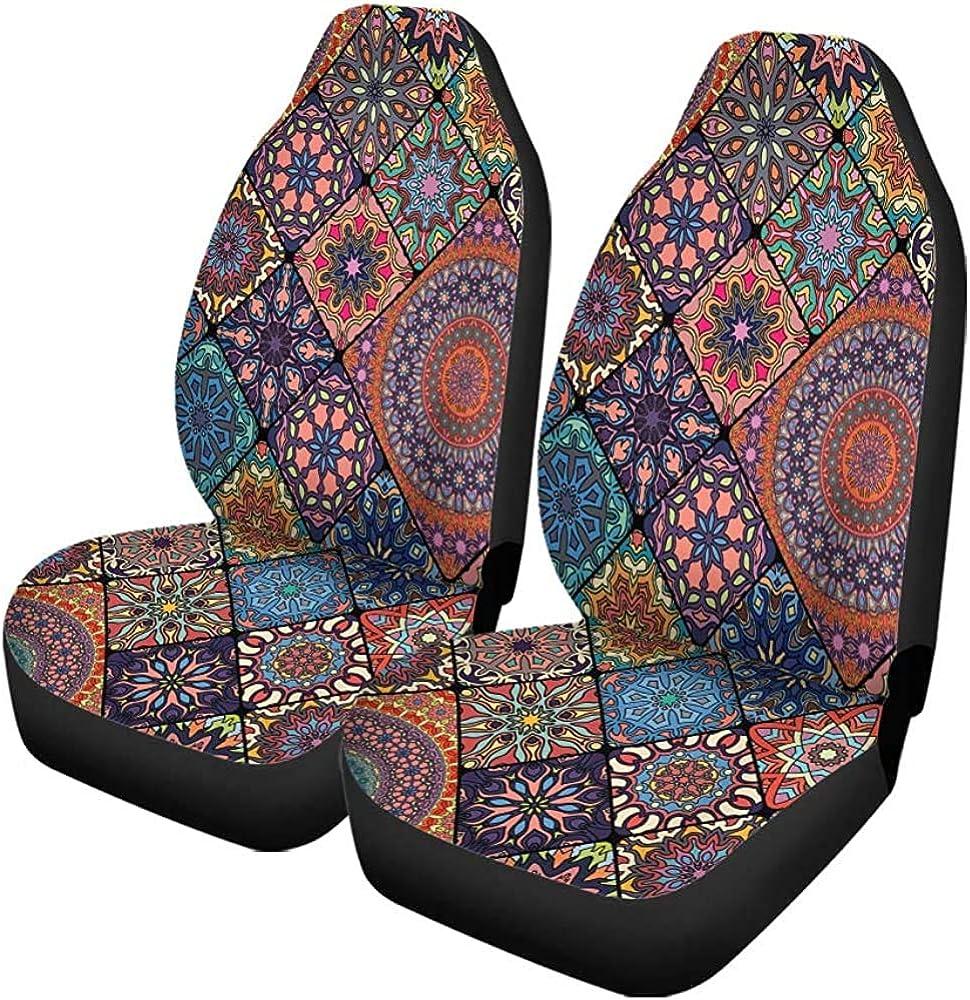 Not Applicable 2er Set Autositzbezüge Muster Bunt Vintage Floral Und Mandala Teppich Ottoman Universal Auto Vordersitze Protector Universal Bekleidung