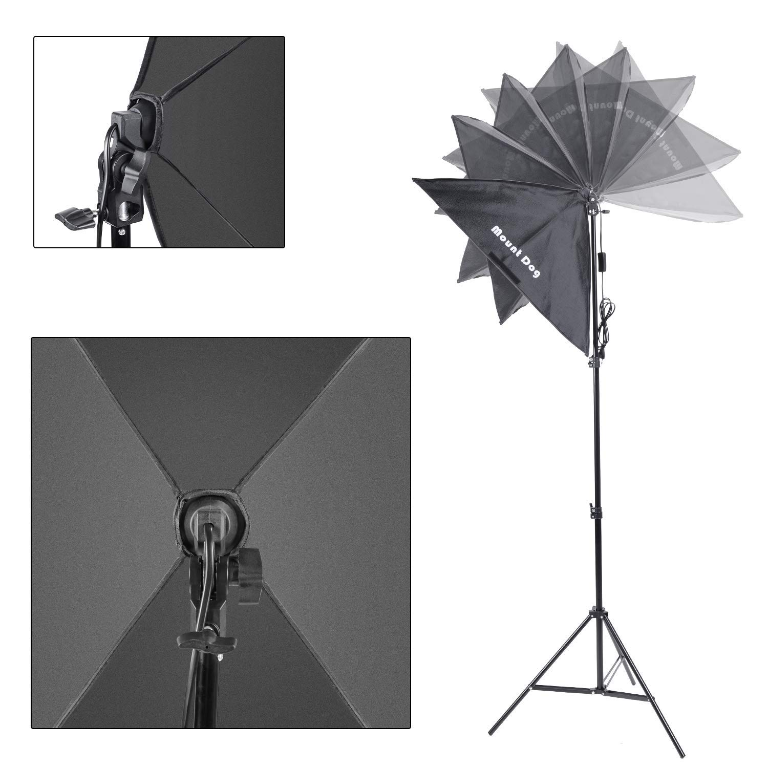 MOUNTDOG 1350W Photography Softbox Lighting Kit 20''X28'' Professional Continuous Light System with 3pcs E27 Video Bulbs 5500K Photo Studio Equipment for Filming Model Portraits Advertising Shooting by MOUNTDOG (Image #8)