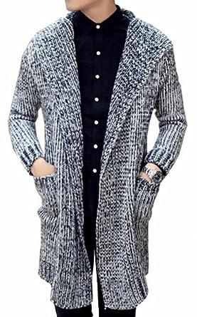 b9cac38ebd39 Jaycargogo Mens Casual Open Front Long Hooded Knit Long Sleeve ...