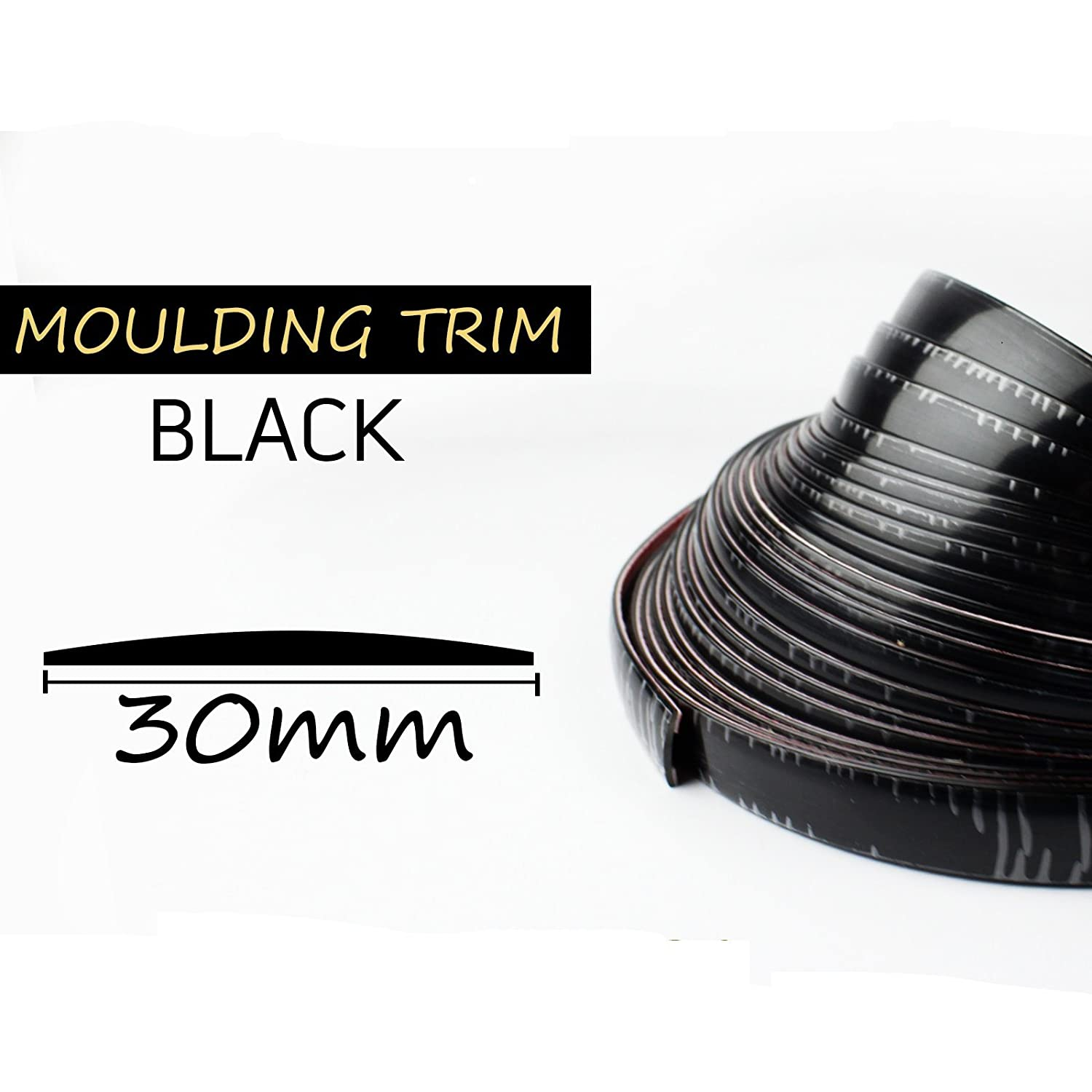 Moulding Trim Strip Car Auto Window Door Bumper Grille Interior Decorative 30mm Width Black 50ft Fourbang