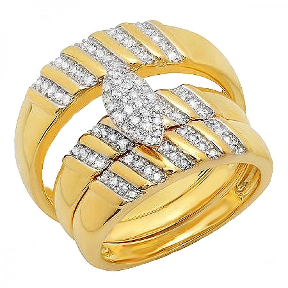 0.35 Carat (ctw) 18K Yellow Gold Plated Sterling Silver Diamond Unisex Engagement Ring Trio Set 1/3 CT
