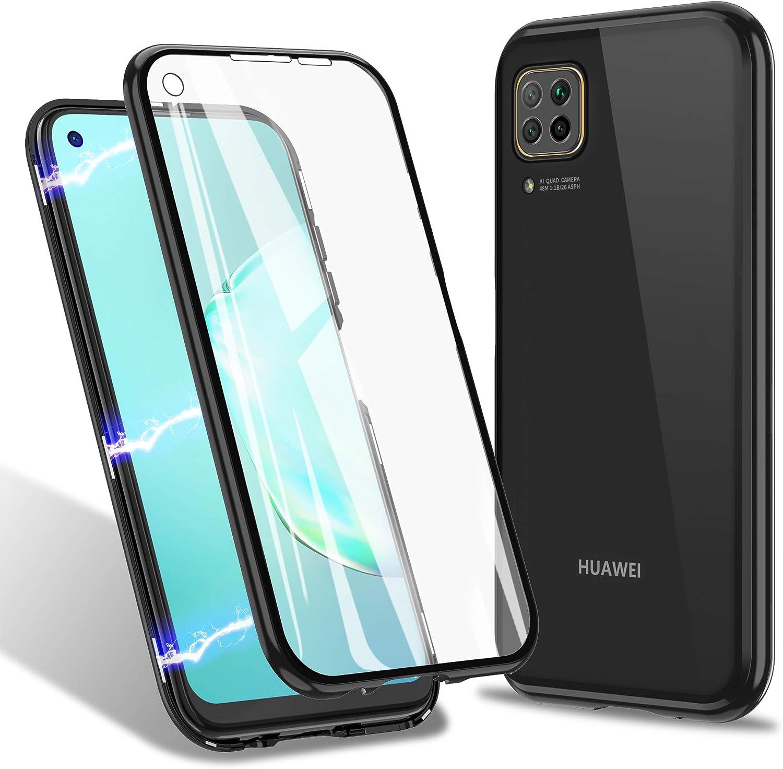 ZHIKE Funda Huawei P40 Lite,Estuche de adsorción magnética Cobertura de pantalla completa de vidrio templado frontal y posterior Cubierta plegable de diseño de una pieza (Versión mejorada-Negro claro)