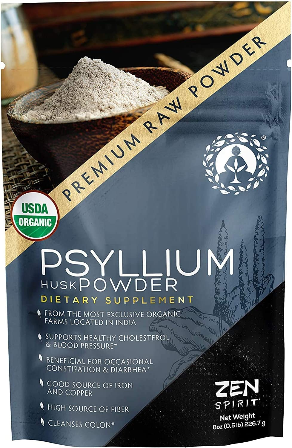 Psyllium Husk Powder - 0.5 LB (8 oz) Indian Organic Fiber Premium Grade Superfood (Raw) - USDA & Vegan Certified - - Perfect for Smoothies, Baking, Desserts & Breakfast.