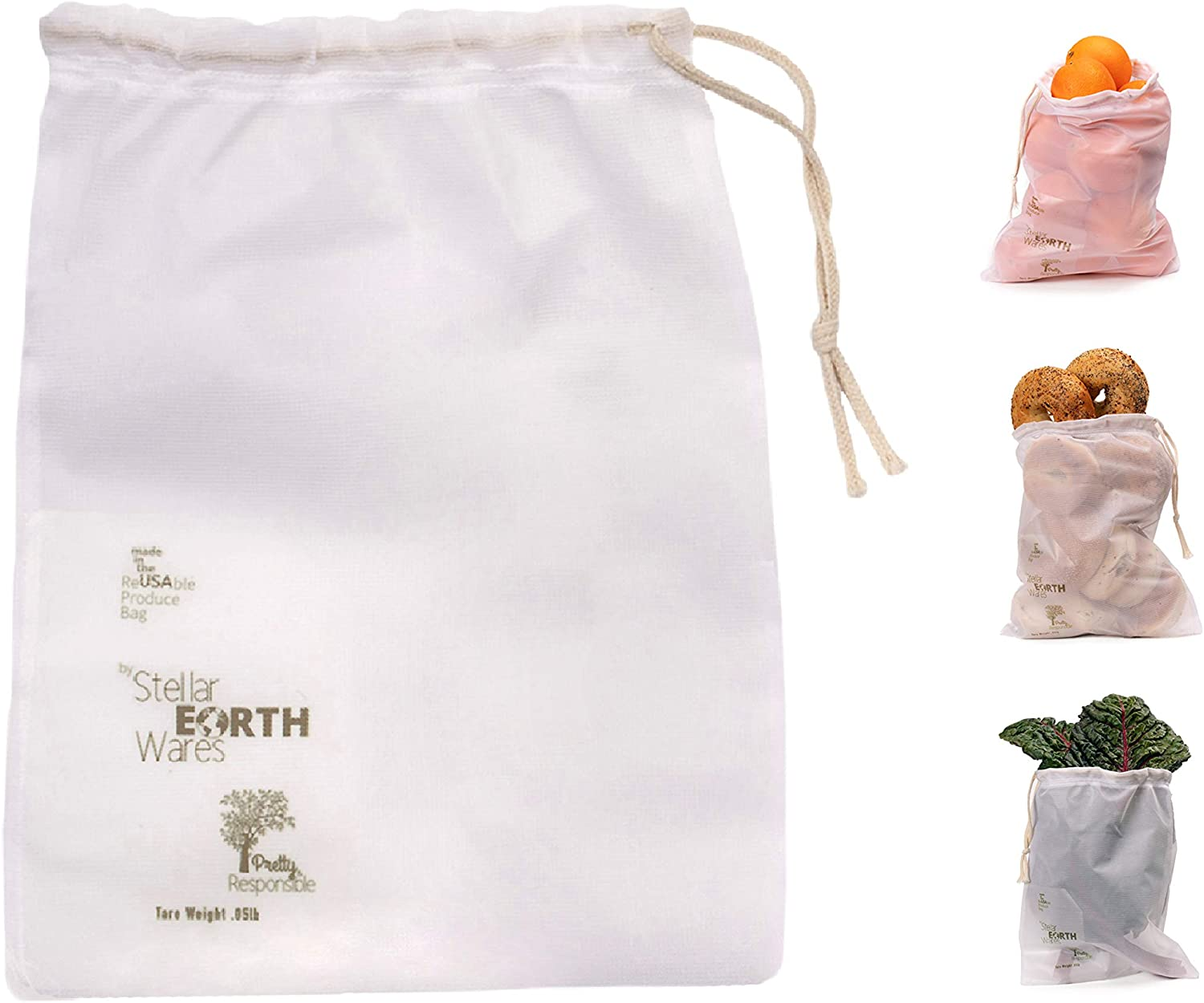 Premium Reusable Produce Bag. Made in The USA. Mesh Vegetable Bag. Made in Vermont. 4Piece Ecofriendly Washable with Tare Weight. Unique Drawstring Design. Lightweight. Double Stitched Seams.