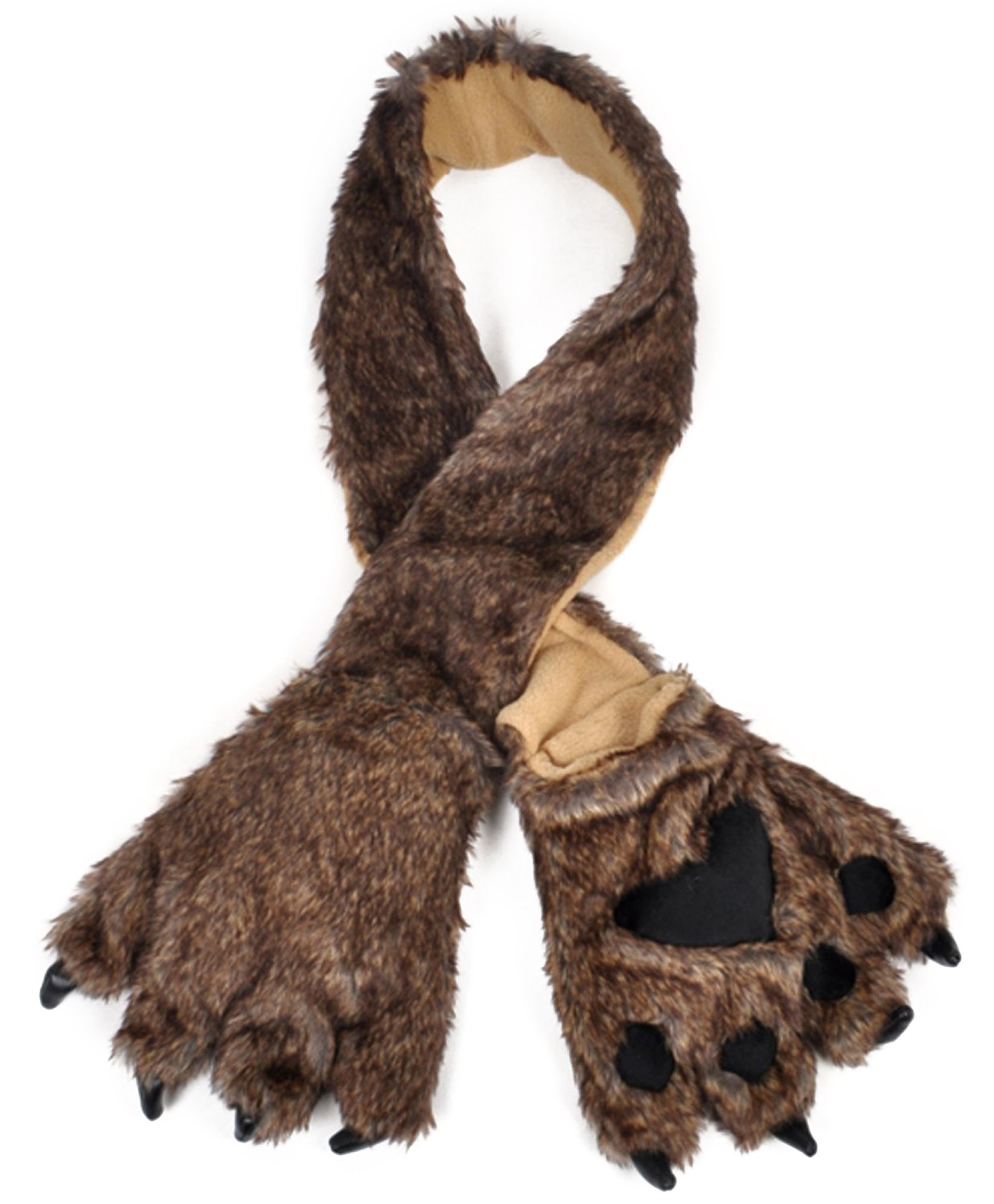 Brown Wolf Animal Fur Scarf with Paw Mitten