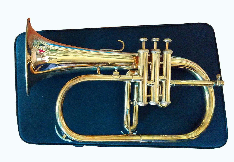 Global Art World Natural Brass Flugel Horn 2016 Great Value 3-Valve Brass BB Flugelhorn MI 039