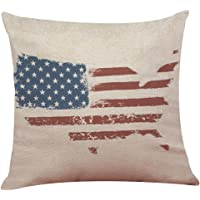 LuckyGirls Kissenbezug 45 x 45 cm Vintage American Flag Baumwolle Leinen Sofa Taille Wurf Kopfkissenbezug Pillow Cover Home Decor