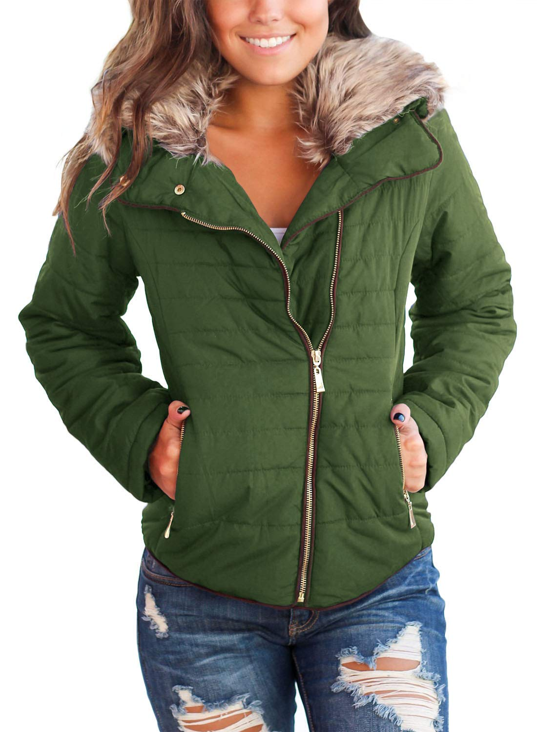 Women's Casual Quilted Parka Jacket Puffer Coat 3