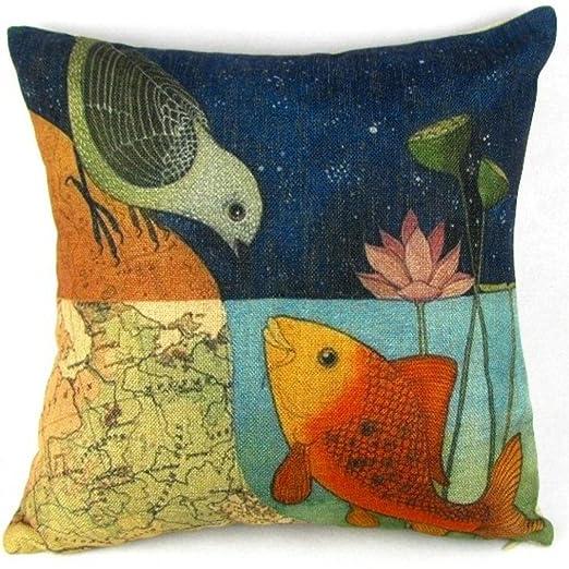 Amlaiworld caja del cojín, Pescado Pájaro impresión sofá ...