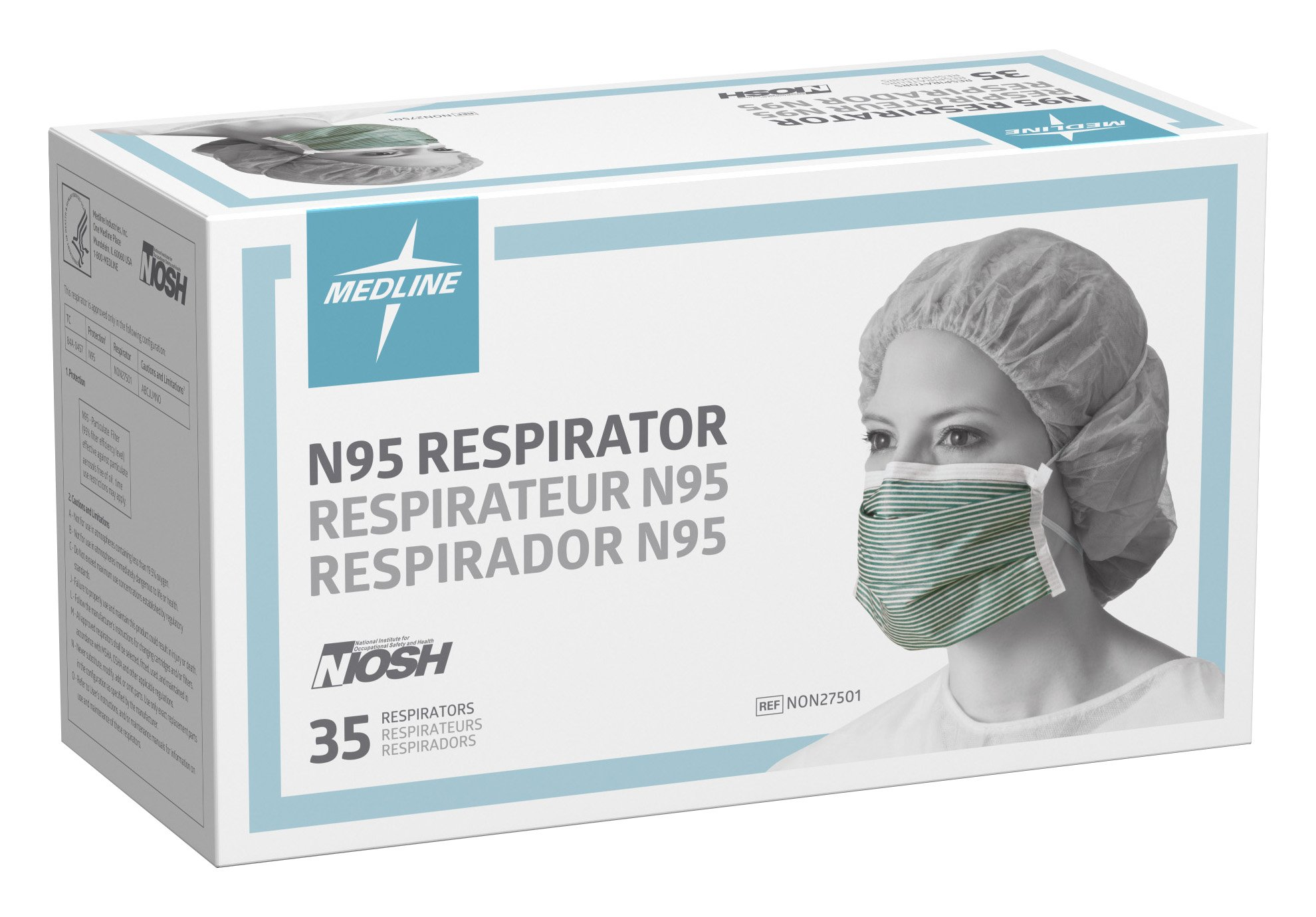Medline NON27501 N95 Flat Fold Respirator Masks, Cellulose, Latex Free, White/Green (Pack of 210) by Medline (Image #2)