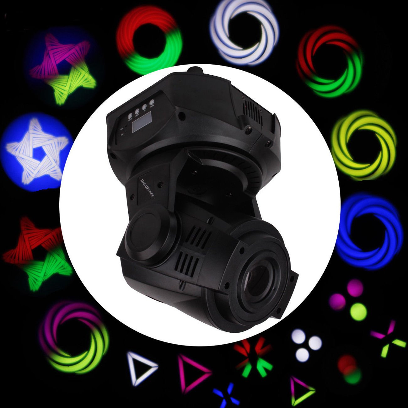 MountainNet 30W LED Moving Head Stage Light 12CH Dmx512 Stage Lighting Xmas Party Lamp Club Dj Rainbow Effect Stage Spot Light Lighting by MountainNet