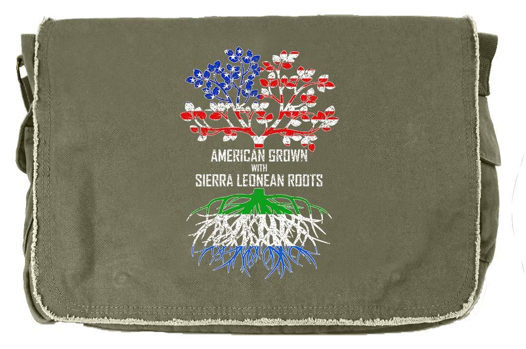 Tenacitee American Grown with Sierra Leonean Roots Flamingo Raw Edge Canvas Messenger Bag