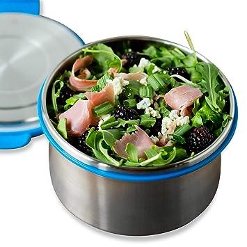 Recipiente para ensalada LunchBots Clicks de acero inoxidable, con tapa antigoteo, ideal para ensalada, sobras y almuerzos saludables, ecológico, ...