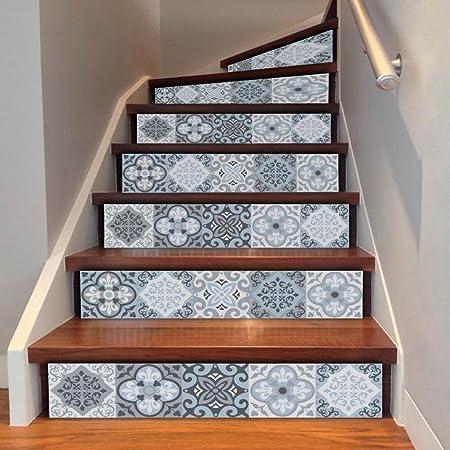 Pegatinas para escaleras, para bricolaje, de Indexp, 1 rollo con 6 paquetes de diseño de Damasco