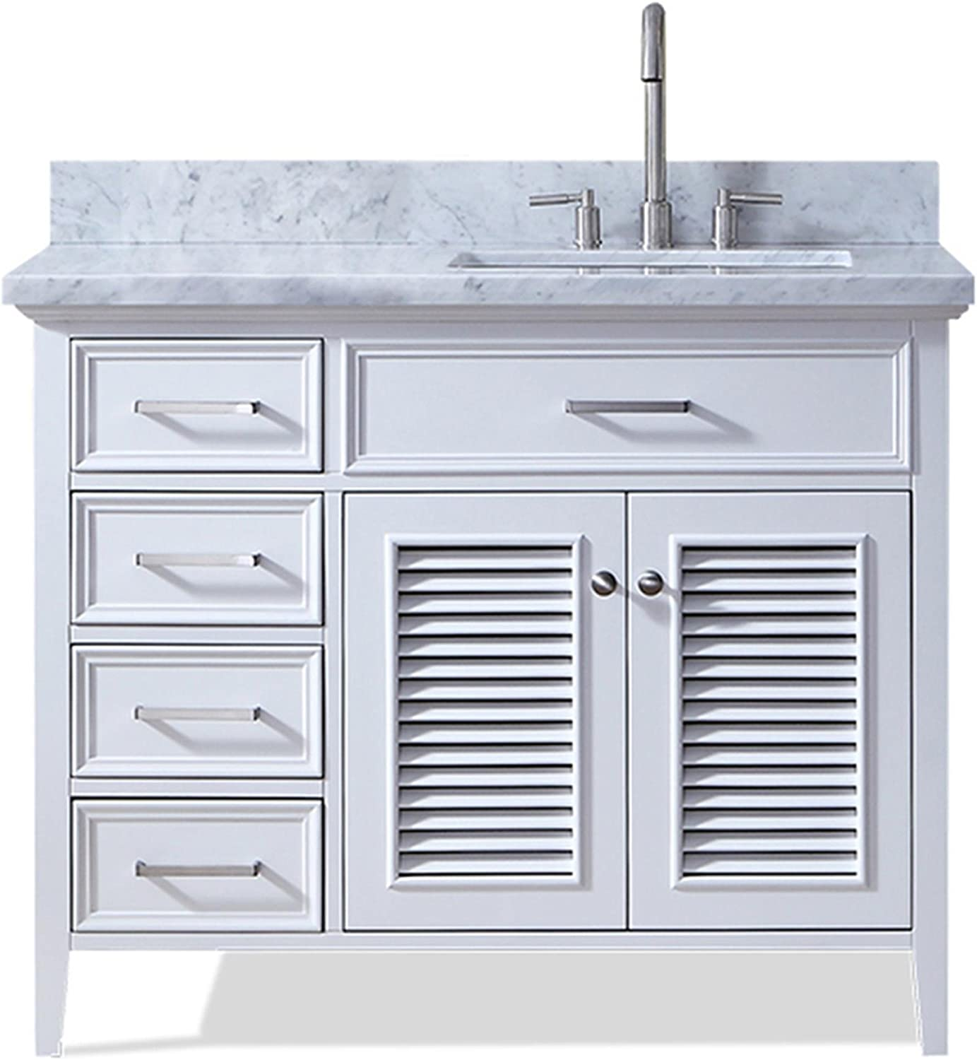 ARIEL Kensington D043S-R-VO-WHT 43 Inch Right Offset Single Rectangular Sink White Bathroom Vanity Cabinet with Carrara White Marble Countertop