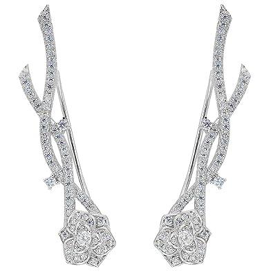 EVER FAITH® 925 Sterling Silver Round CZ Simple Ear Cuff Wrap Sweep Hook Earrings 1 Pair GKoJcuPVon