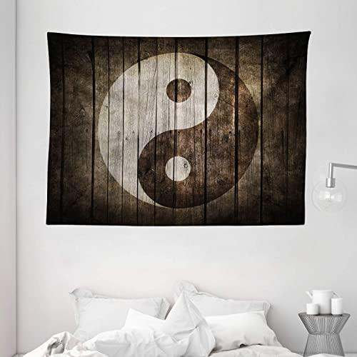 Ambesonne Ying Yang Tapestry, Rustic Wood with Ying Yang Sign Art Grunge Design Peace Balance Yoga Nature, Wide Wall Hanging for Bedroom Living Room Dorm, 80 X 60 , Beige Brown