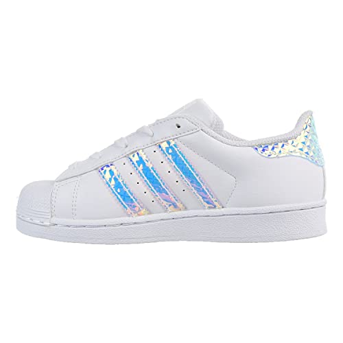 Amazon.com | Adidas Superstar C Little Kids (PS) Shoes  White/White/Iridescent cg3597 | Sandals