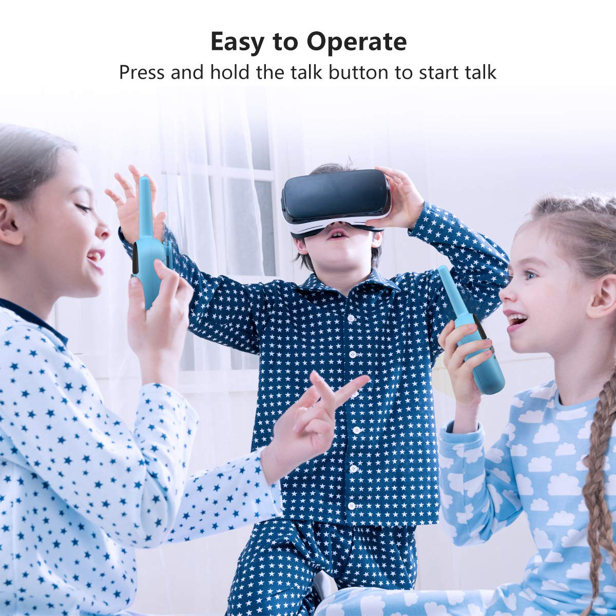 Spronto Kids Walkie Talkies 9 Channel Two Way Radio Twins Walkie Talkies FRS/GMRS Handheld Interphone Long Range for Trips Outdoor Activities (Blue) by Spronto (Image #3)