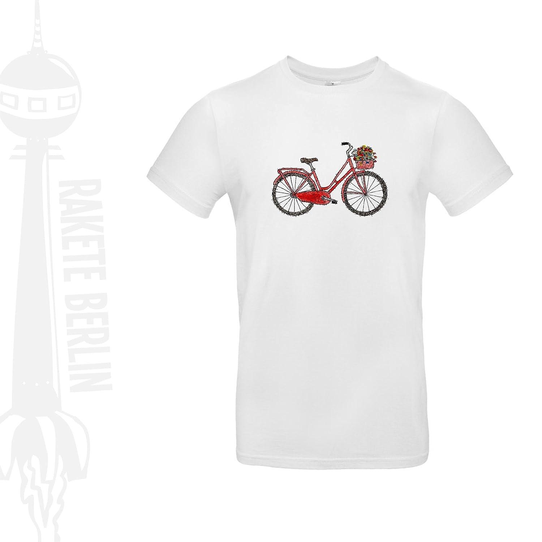 Herren T-Shirt 'Blumen Fahrrad' Baumwolle