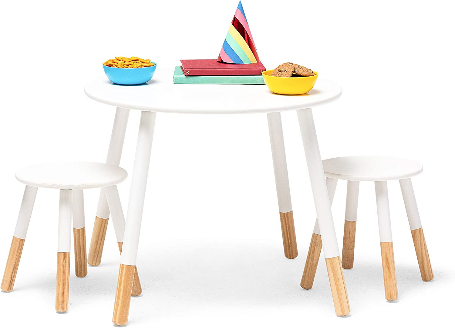 Wildkin Kids Scandi Table and Chairs for Toddlers Boys and Girls, Table Set for Kids Includes Two Matching Stools, Features Solid Wood Legs, Ideal for Homes, Daycares, and Classrooms (White/Natural)