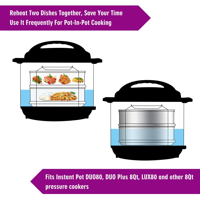 aozita apilable accesorio para cocción al vapor Sartenes con correa para 5/6/8 Quart Instant Pot Accesorios - alimentos de acero inoxidable vaporera para ...