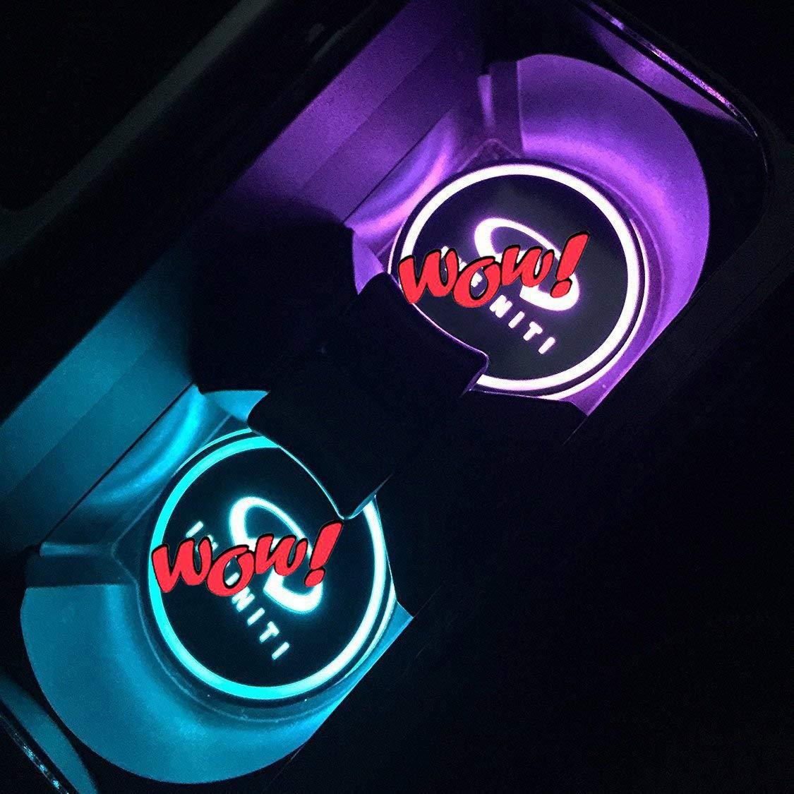 KINBEAR Impermeable Posavasos Coche Luces led 7 Colores de Carga USB Sostenedor de la Bebida para el Coche Accesorios LED Interiores luz Mercedes Amg