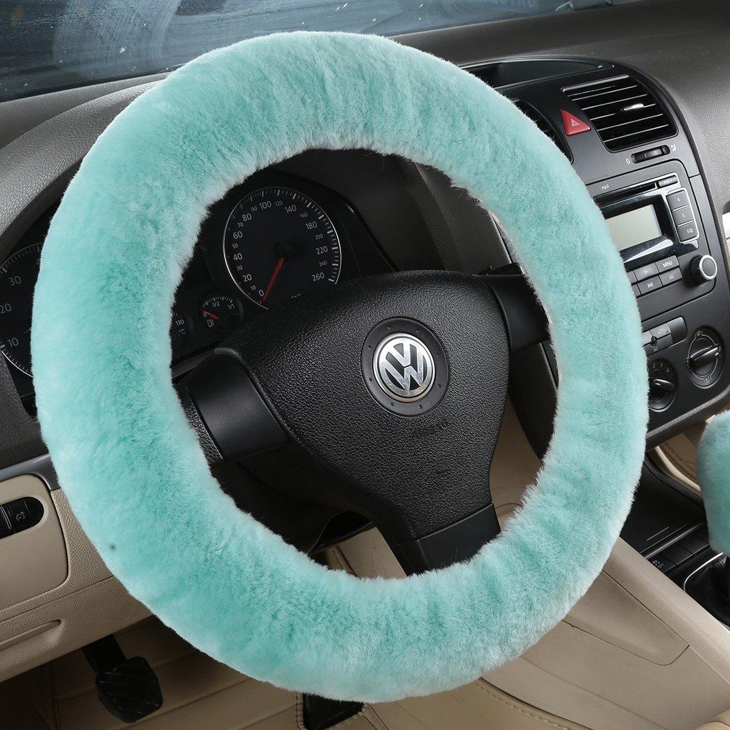Bellesie Universal Warm Winter Genuine Wool Sheepskin Car Steering Wheel Cover Cushion Protector for 35cm-43cm Steering Wheel in Diameter