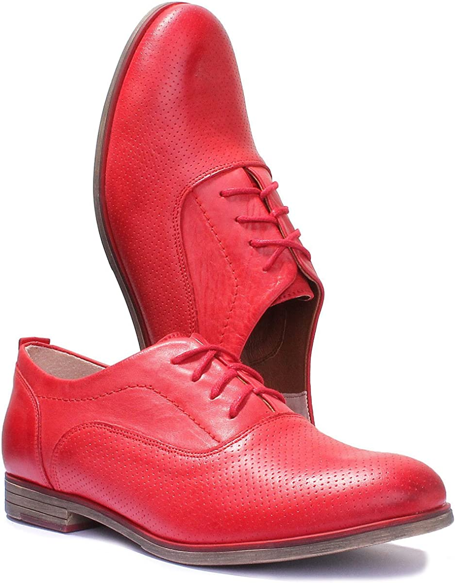 Justin Reece Damen-Oxford-Schuhe aus perforiertem Leder
