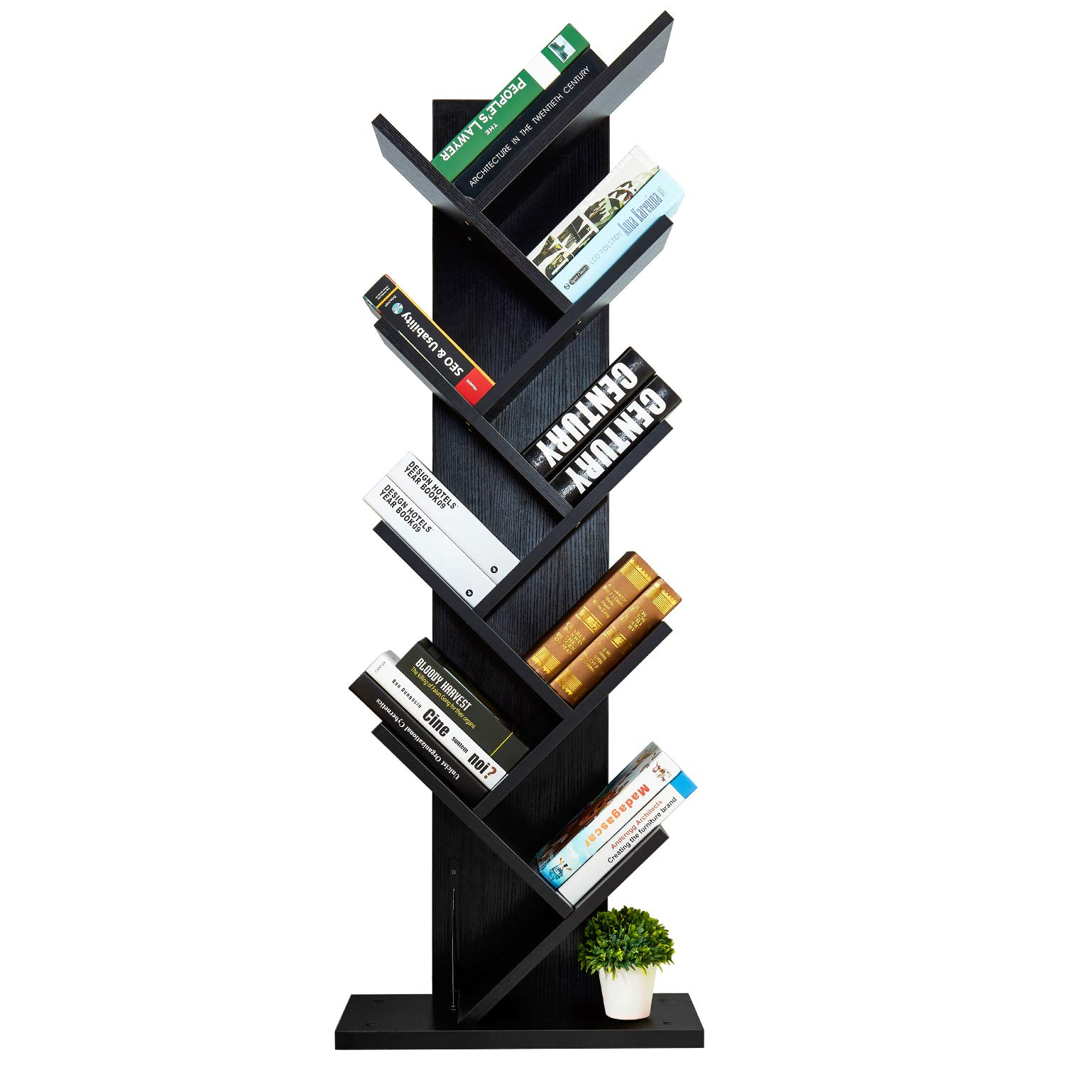 AUXLEY Tree-Shape Bookshelf Thickened Compact Book Rack Bookcase, 19.6 L9.8 W55.8 H, Black