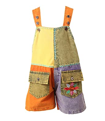 patchwork dungaree shorts
