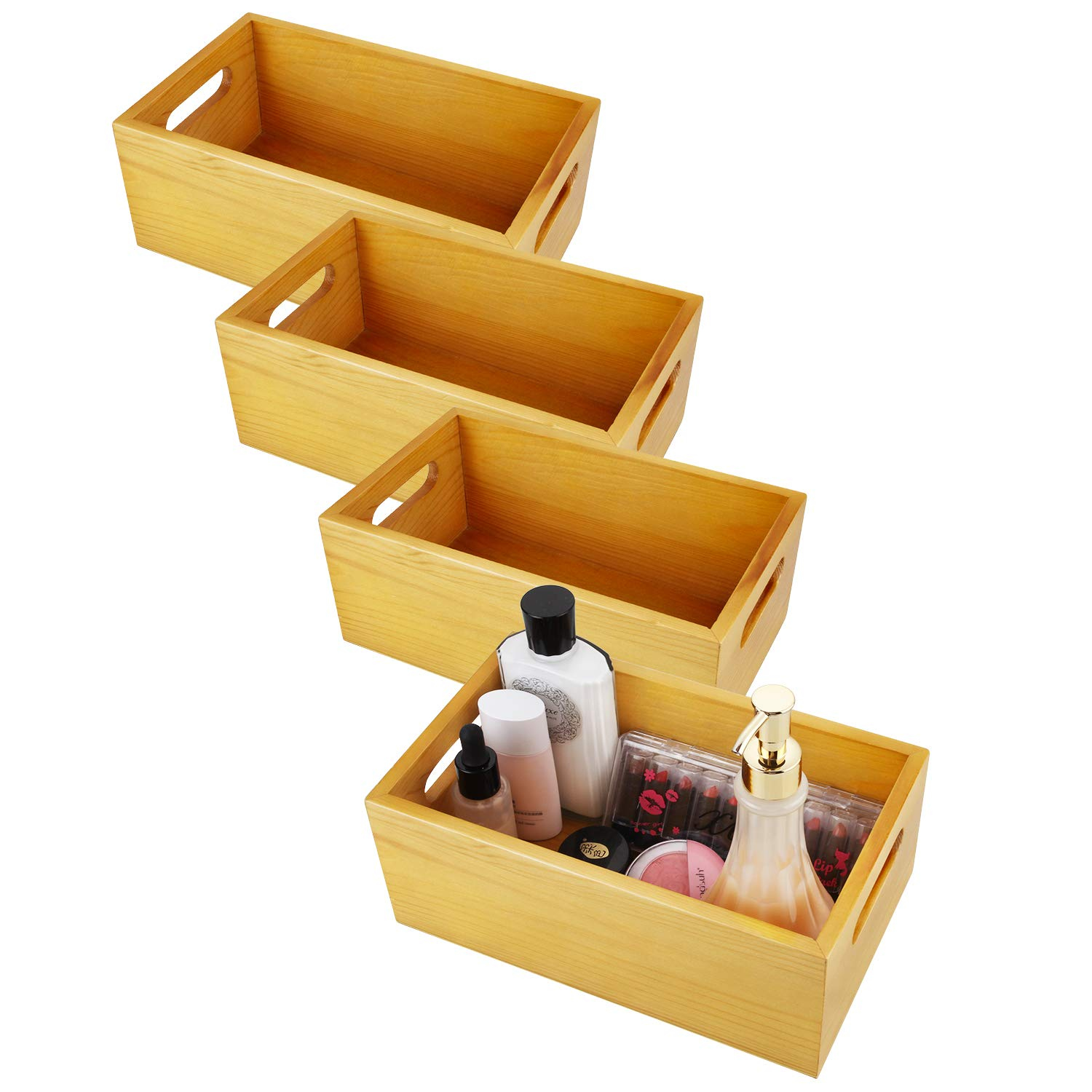 ABUFF 4 Pack of 4'' Deep Pine Wood Organizer Open Box, 10'' X 6'' Toilet Storage Tray with Handle for Tissues, Candles, Soap