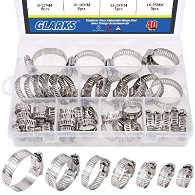 Plumbing Automotive and Mechanical Glarks 15Pcs 91-114mm//3.6-4.5inch Range 304 Stainless Steel Adjustable Worm Gear Hose Clamps for Fuel Line Clamp for Water Pipe 91-114mm