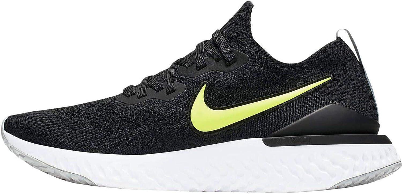 Nike Epic React Flyknit 2, Zapatillas de Atletismo para Hombre, Multicolor (Black/Volt/Wolf Grey/White 000), 45.5 EU: Amazon.es: Zapatos y complementos