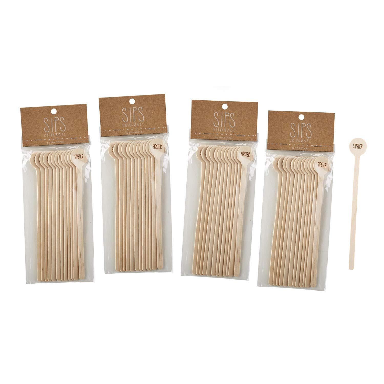 Pack of 12 SIPS Drinkware Sipster Wooden Stir Sticks