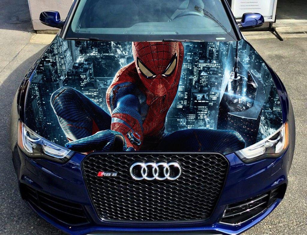 Amazon com spider man full color sticker car hood vinyl sticker car vinyl graphics decal wrap car hood graphics fit any vehicles mh26 baby