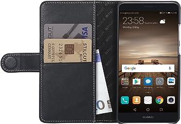 StilGut Talis, Housse Huawei Mate 9 avec Porte-Cartes en Cuir véritable. Etui Portefeuille à Ouverture latérale et Languette magnétique pour Huawei Mate 9, Noir Nappa