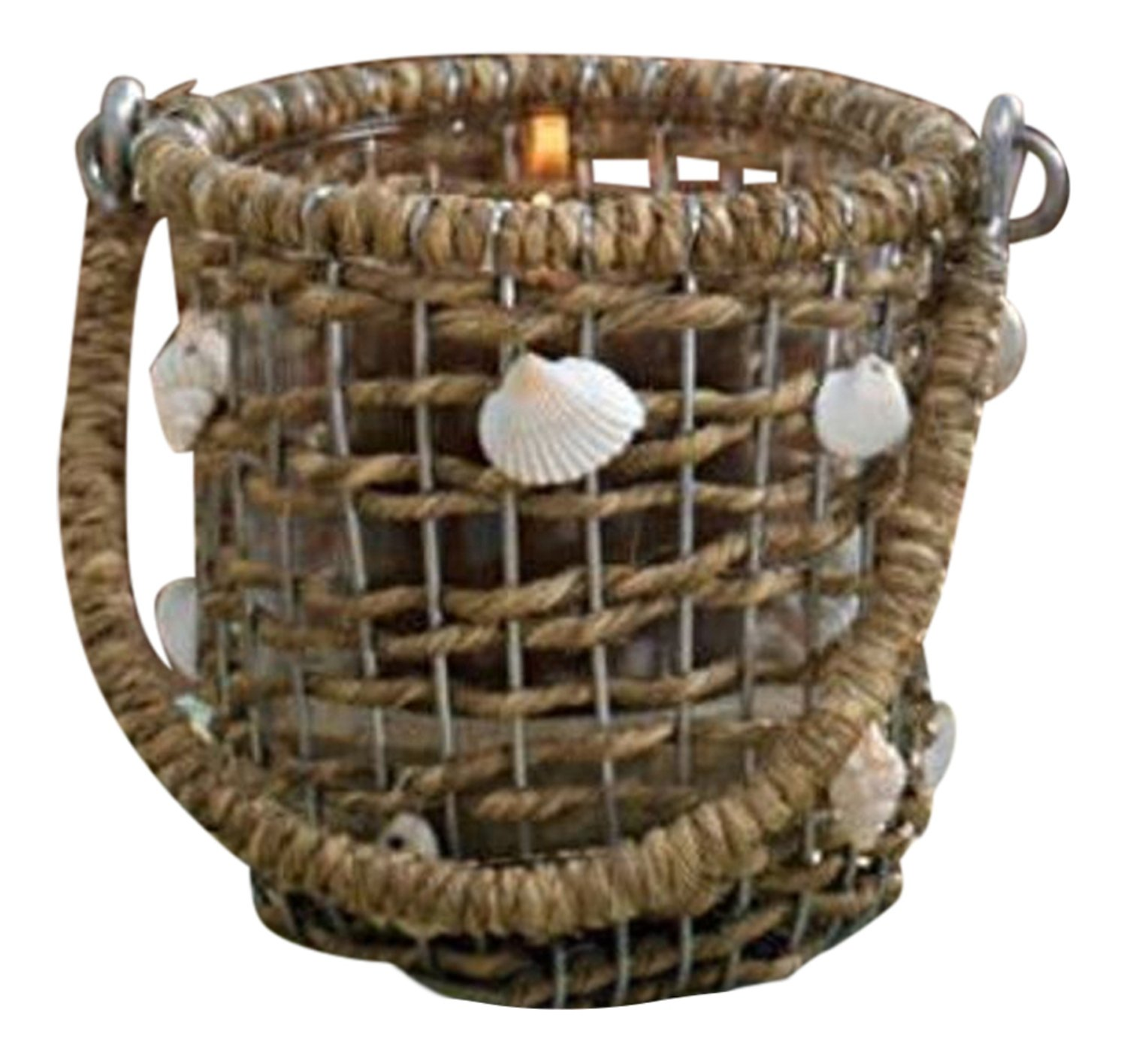 Waterside Natural Jute and Shells with Glass Votive Holder Park Designs