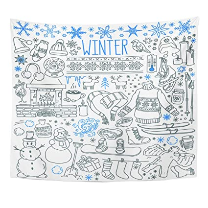 Emvency Tapestry Winter Season Doodle Snowflakes Icicles Classic Ornaments  Knitted Wear Sports Freehand Drawings Over Home Decor Wall Hanging for