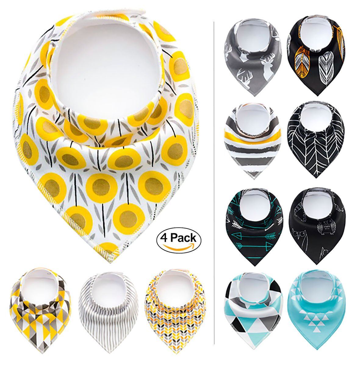 Paws n' Play 4 Piece Fun Bright Color Snap-On Pet Dog Bandana Triangle Scarf Bibs - Accessories for Dogs, Puppy, Cats - Small/Medium, Soft Cotton (Dewshine Poppy) by Paws n' Play (Image #1)
