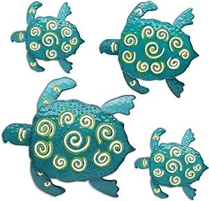 Juegoal Bathroom Metal Art Sea Turtles, Coastal Wall Decor Sculpture Hanging for Indoor, Outdoor, Living Room, Garden, 4 Pack, Blue